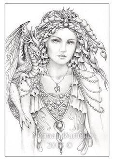 Original Pencil Drawing OSWOA Dragon Elf Fairy Goddess Dragons ...