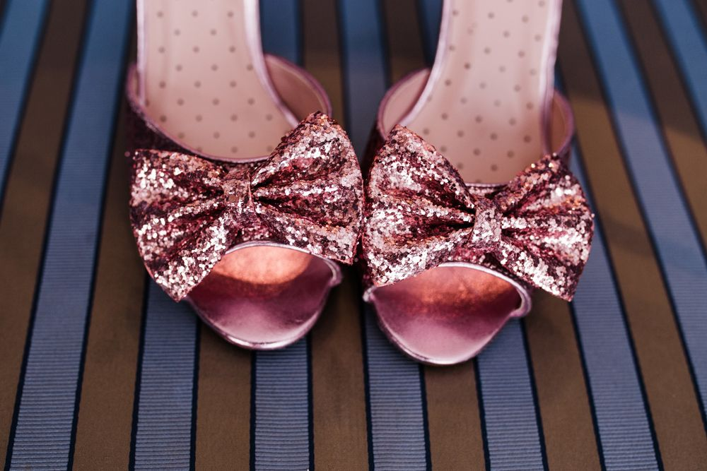 9ebe73edbf53 Pink glitter wedding shoes with bows Bride of Chucky Themed Wedding in  Dublin