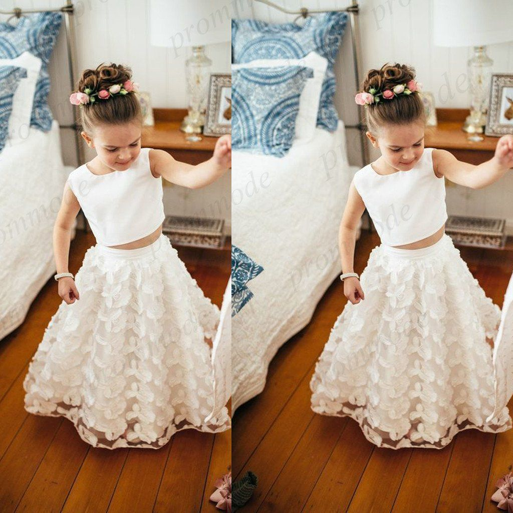 Cheap white two piece lace little girl dresses flower girl dresses