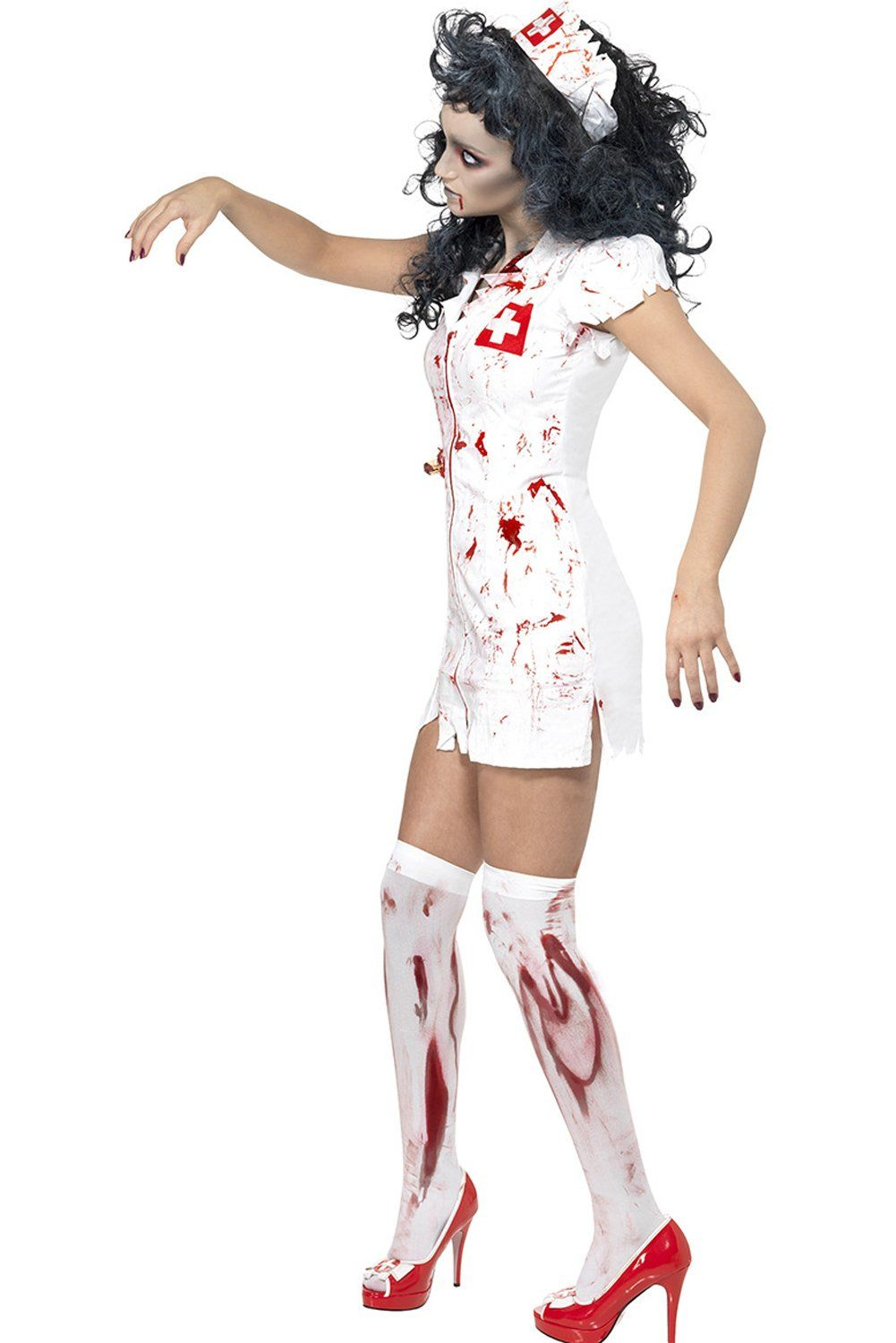 Ladies Bloody Nurse Zombie Halloween Fancy Dress Costume Party Outfits Cosplay