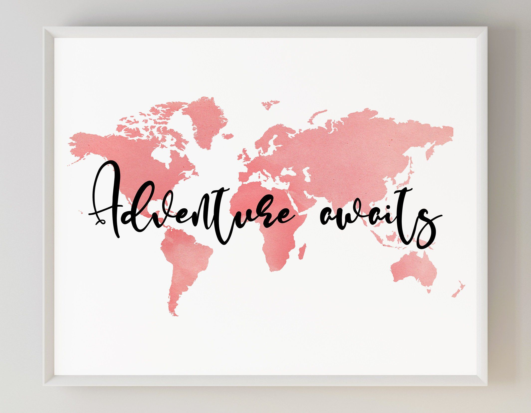 World Map Wall Art Adventure Awaits World Map Nursery Print Worldmap Wallart Adventurenursery World Map Wall Decor World Map Wall Art World Map Wall
