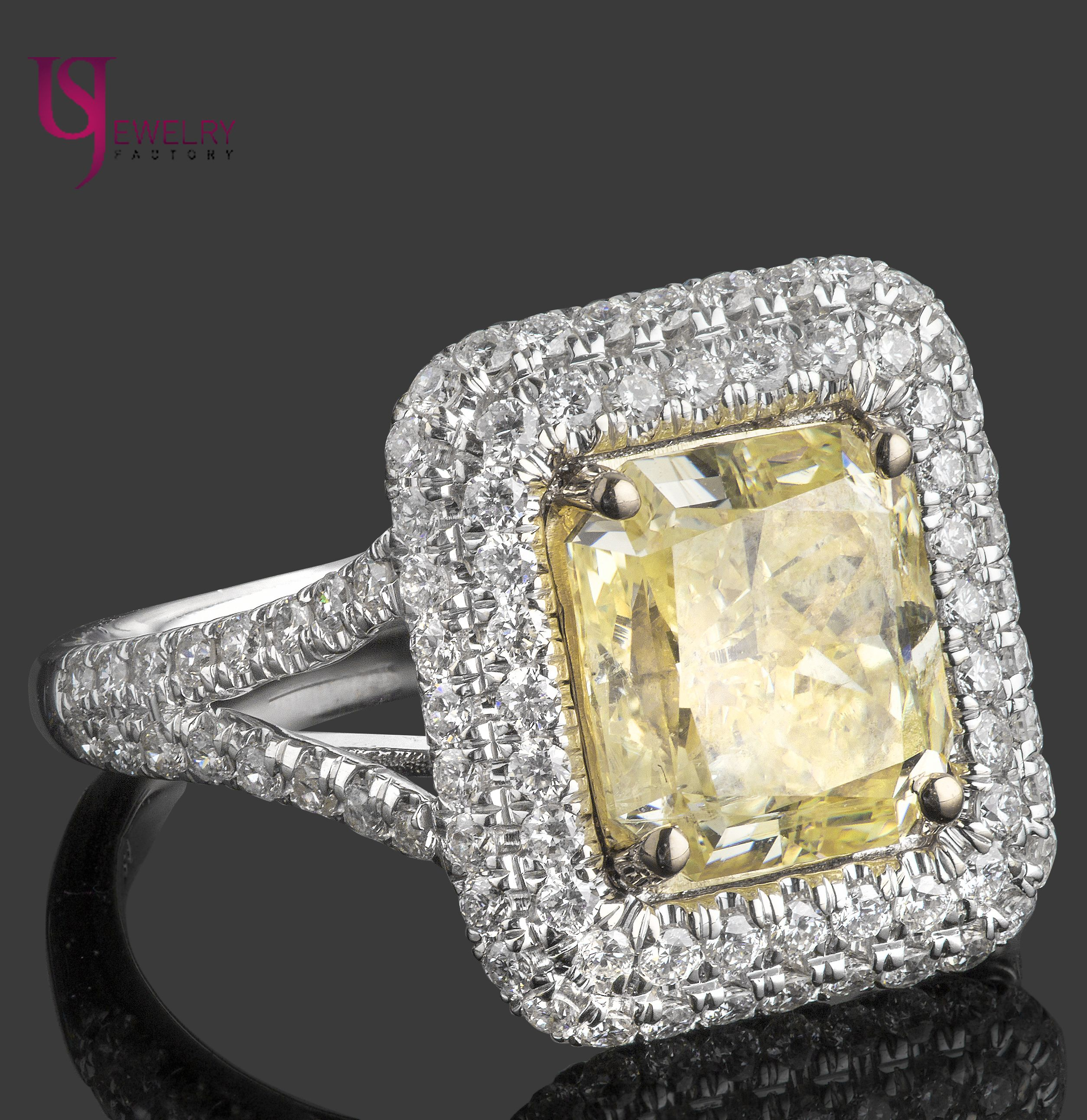 tcw natural fancy yellow radiant cut diamond double halo