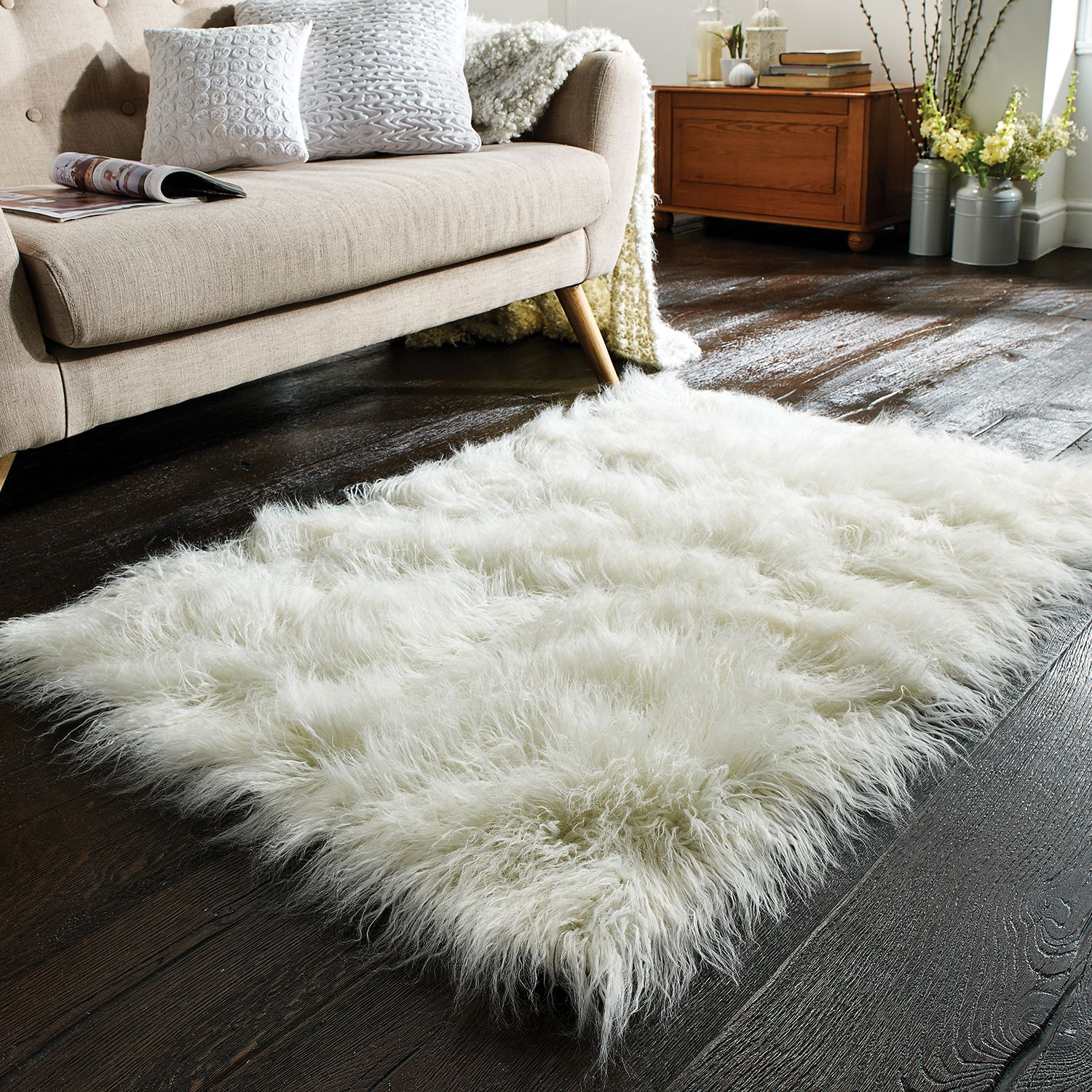 Flair Faux Mongolian Sheepskin Rug In