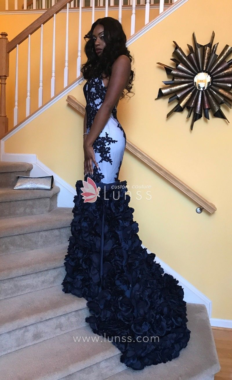 Dark navy prom dress lunss prom girls happy customers