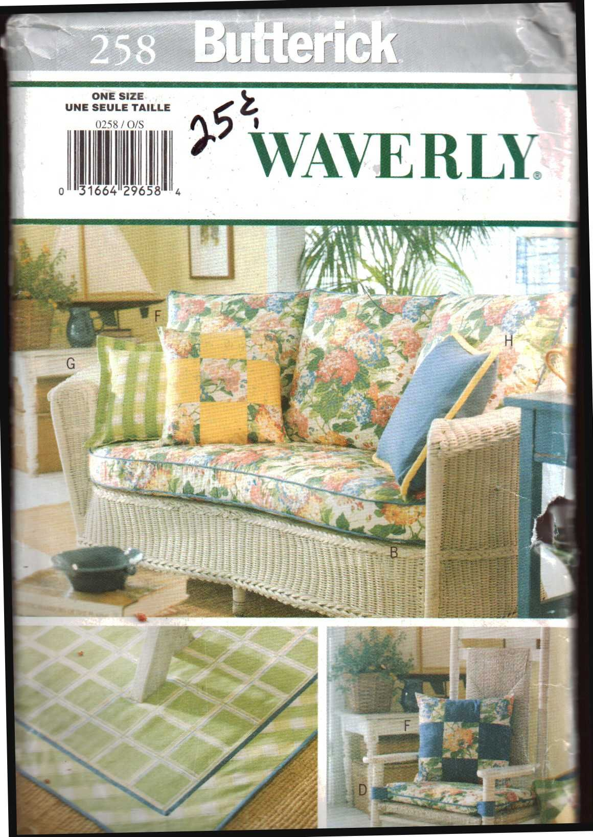 Butterick 258 Waverly Sunroom Decor   Rug, Sofa Cushion Covers, Chair  Cushion, Pillows
