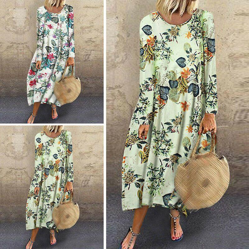 Langarm Kleid Bedruckt Lang Maxi Urlaub Frauen Damen Sommer Sommerkleid