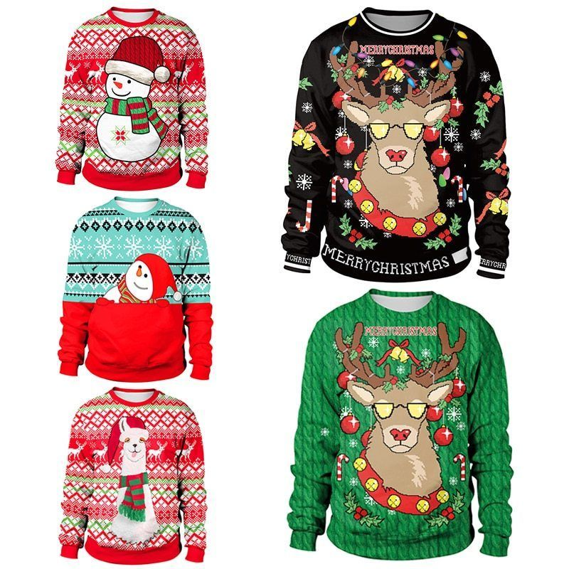 Unisex Men Women 2018 Ugly Christmas Sweater Santa Elf