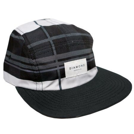 e4245b84aa7 Diamond Supply Co Stone Cut Plaid 5 Panel Camper Hat Strapback Cap Lid  Black  diamondsupply