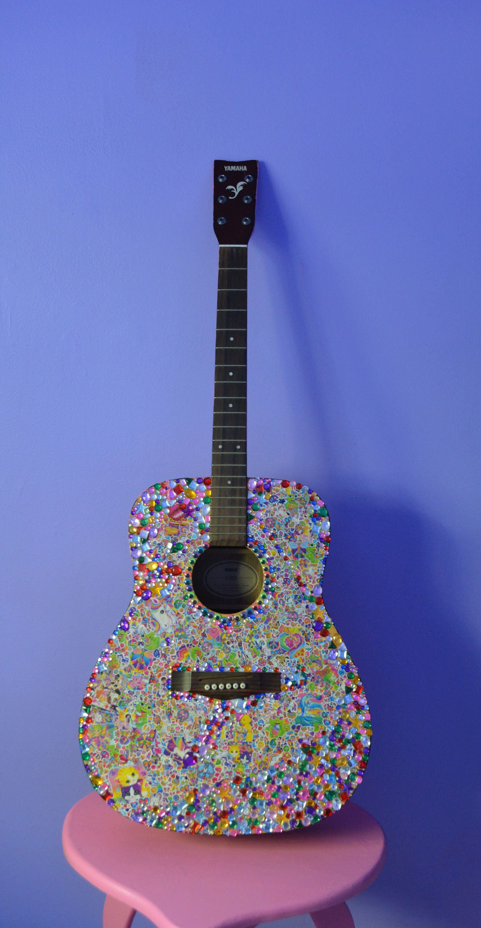 Fully Stickered Acoustic Guitar Etsy In 2020 Acoustic Guitar Guitar Painting Ukulele Art
