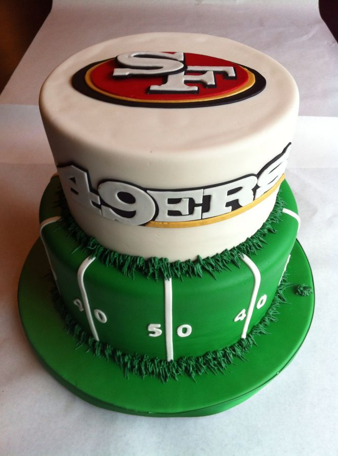 San Francisco 49ers Cake All Fondant With Royal Icing Grass