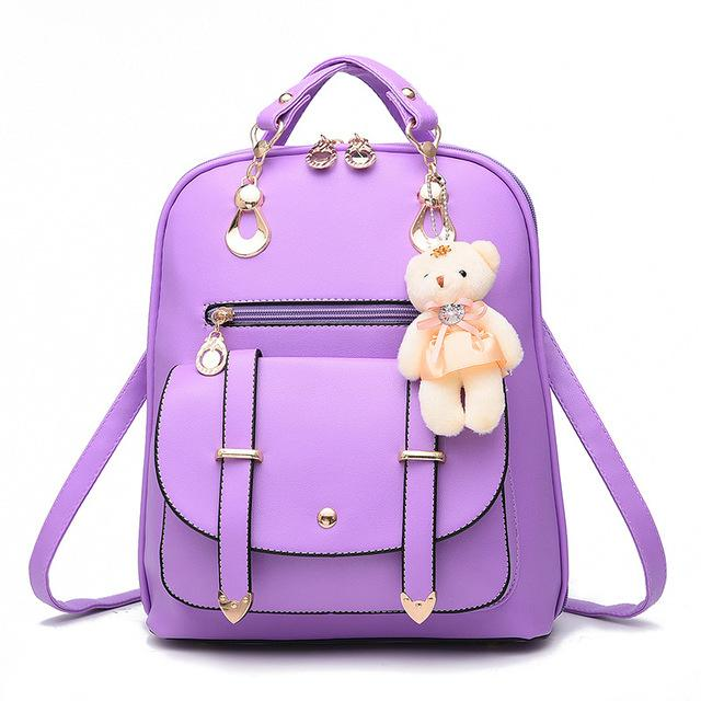 f855bf5879 ZOORON 2017 Women Backpack New Spring And Summer Students Backpack Girls Korean  Style Backpacks With Bear High Quality