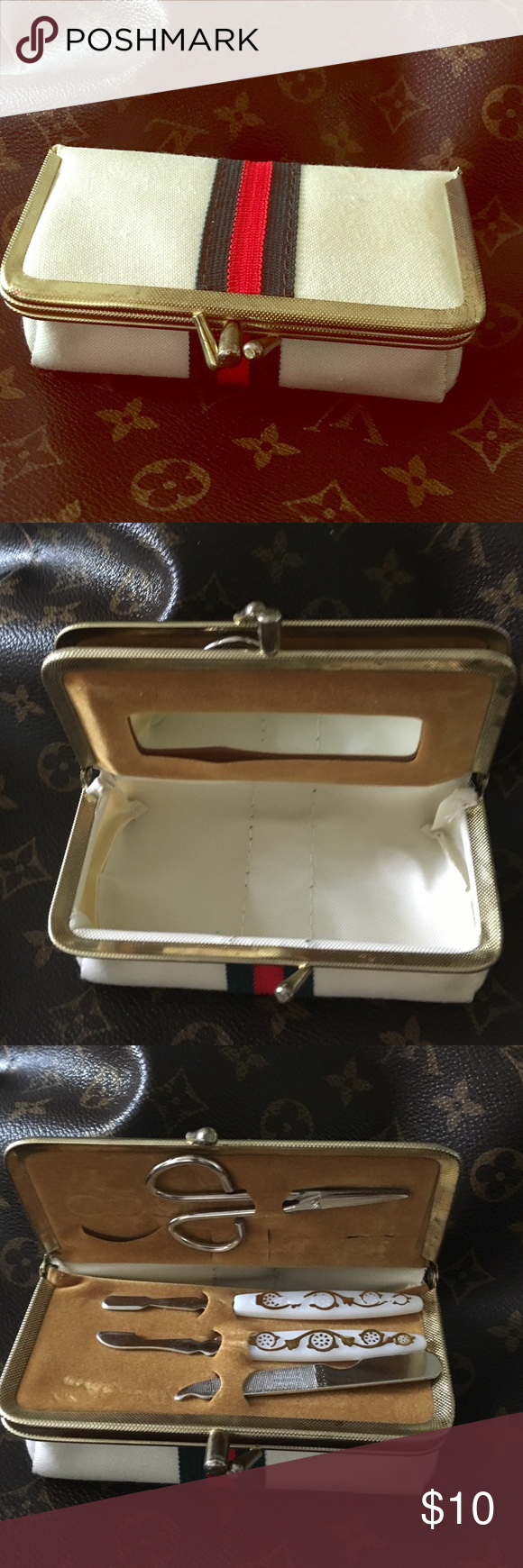Vintage Case with fingernail kit and 2 compartment lots of room for grooming nails and storage-5in long 2 in wide 1.5in height Makeup Brushes & Tools