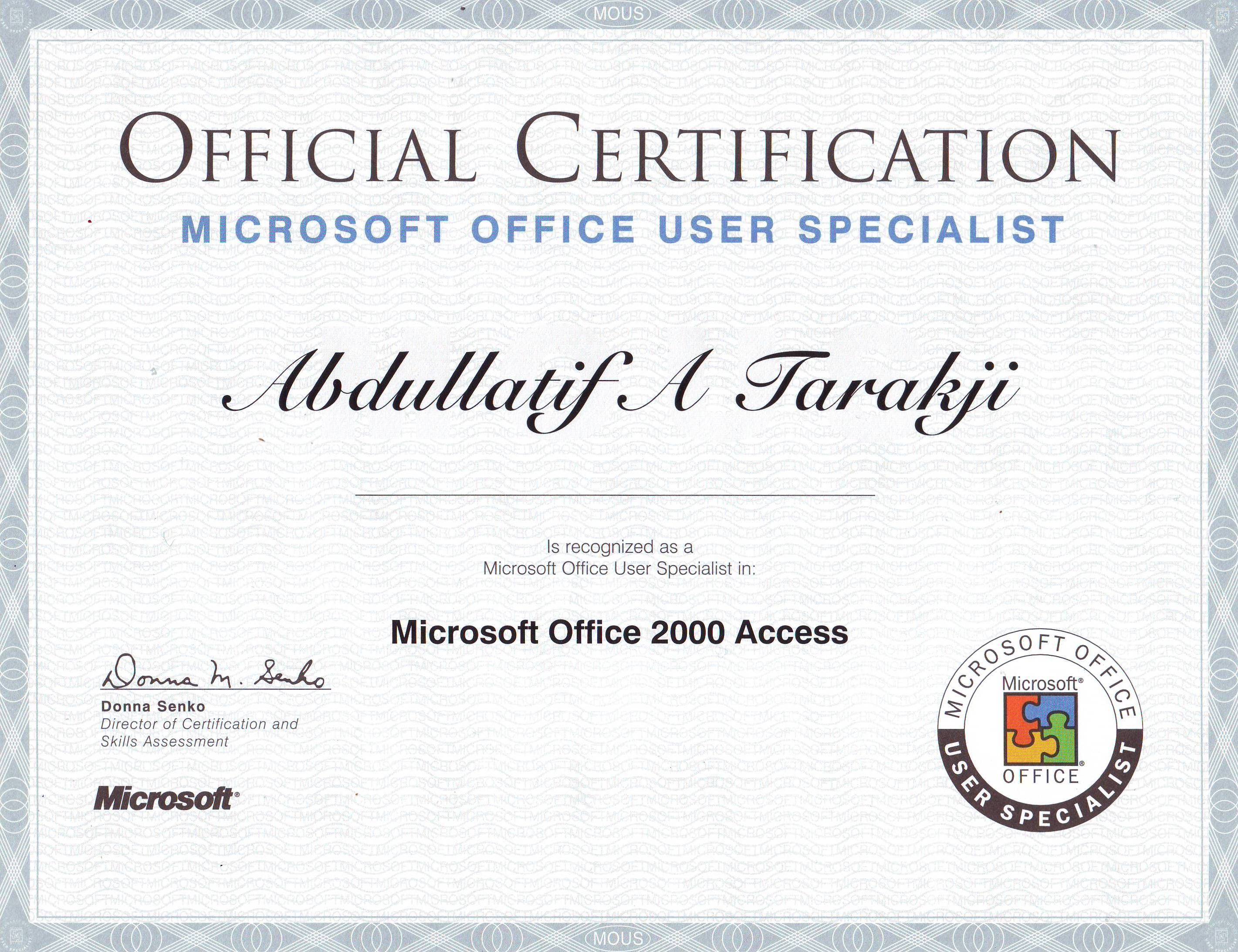 Mous Access Microsoft Office User Specialist Mycertifications