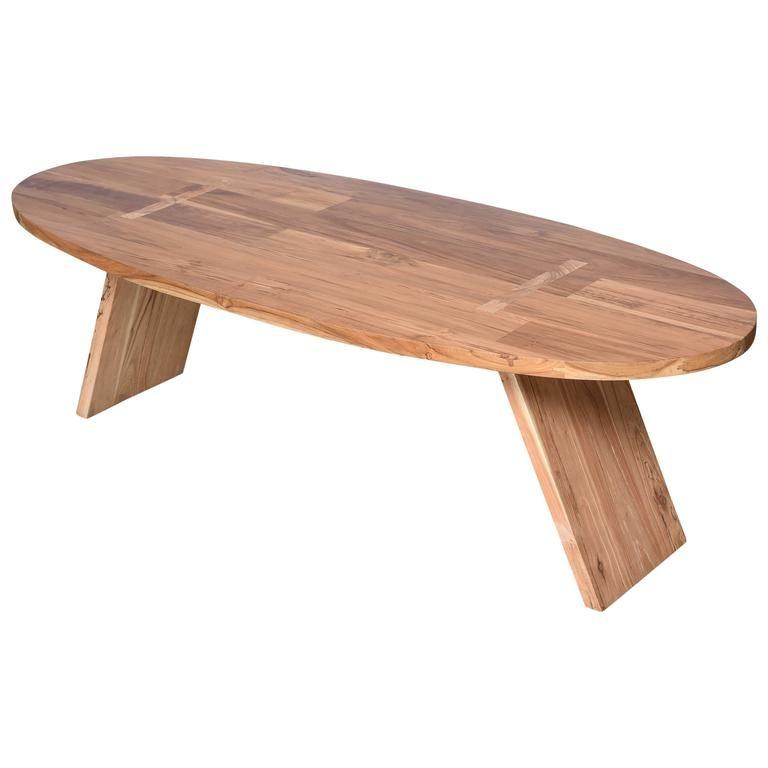Coffee Table Teak Wood Oval Surfboard Shape Handmade Unique Artisanal 1 Table Coffee Table Vintage Table