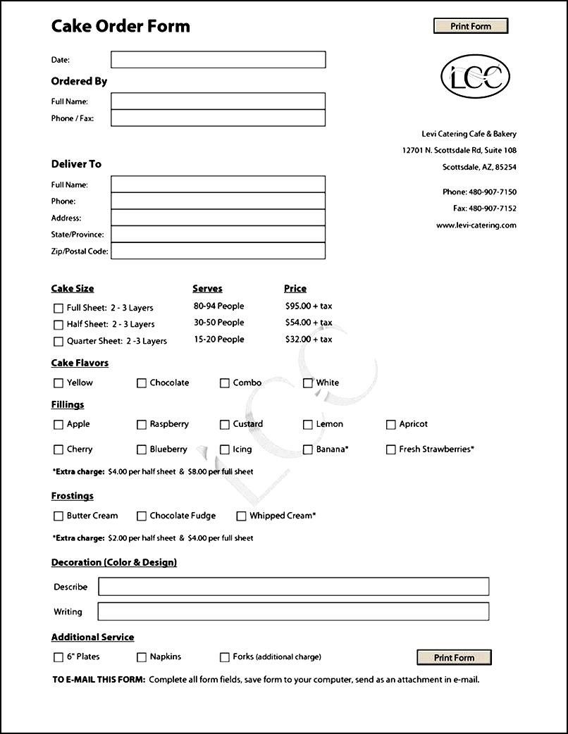 Cake Order Form Template Free  Free Forms Templates