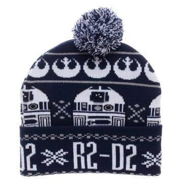 New Girls Star Wars Winter Hat R2D2 Droid Gray Star Pom Pom Disney