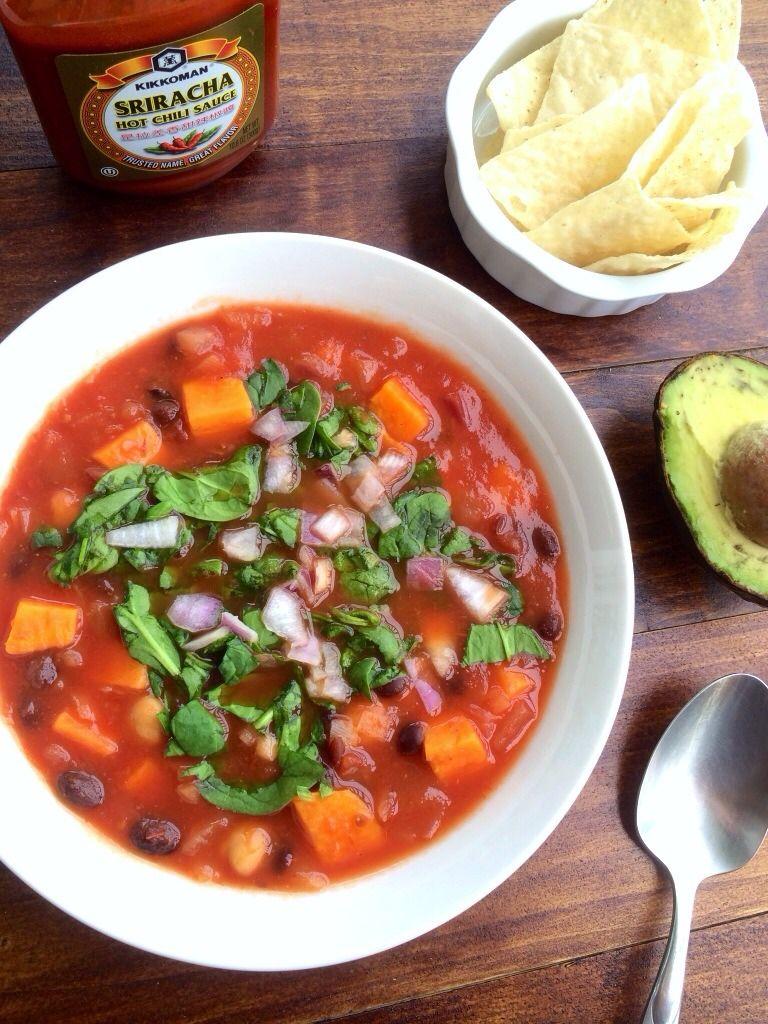 Tomato, onion, chickpea, black bean, sriracha, and sweet potato soup ...