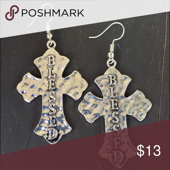 Silver Hammered Blessed Cross Earrings Brand New Dangle With Embossed Jewelry