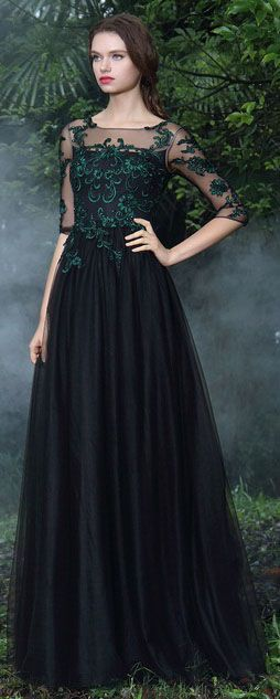 Black Formal Gowns with Green Lace Appliques (26171200) 10e5630e6