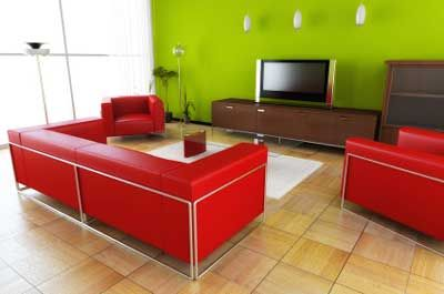 red dark wood light wood and LimeApple green Living Room