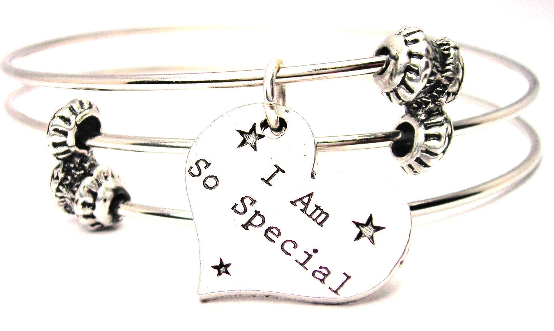 I Am So Special Heart Triple Style Expandable Bangle Bracelet