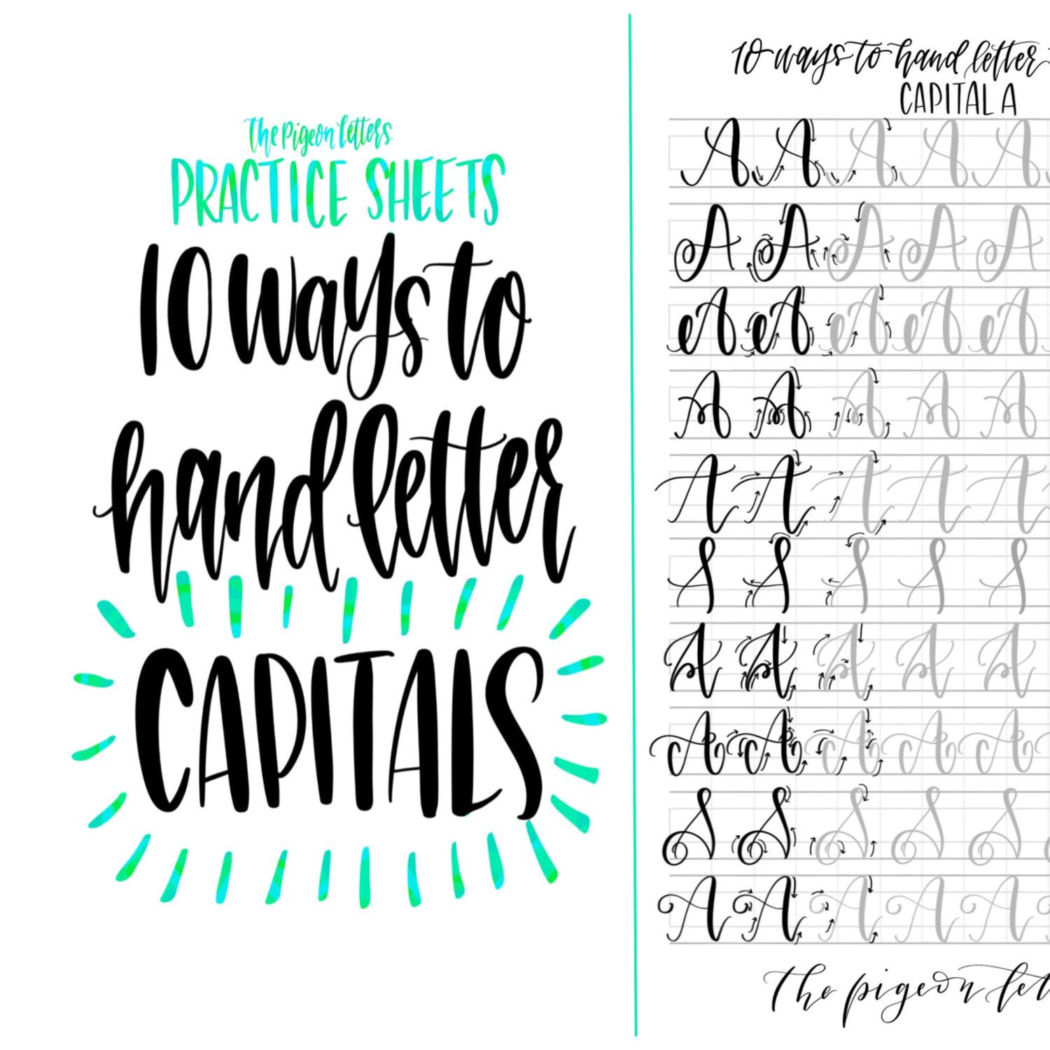 10 Styles To Letter The Uppercase Alphabet Lettering Etsy Lettering Practice Hand Lettering Practice Sheets Hand Lettering Practice