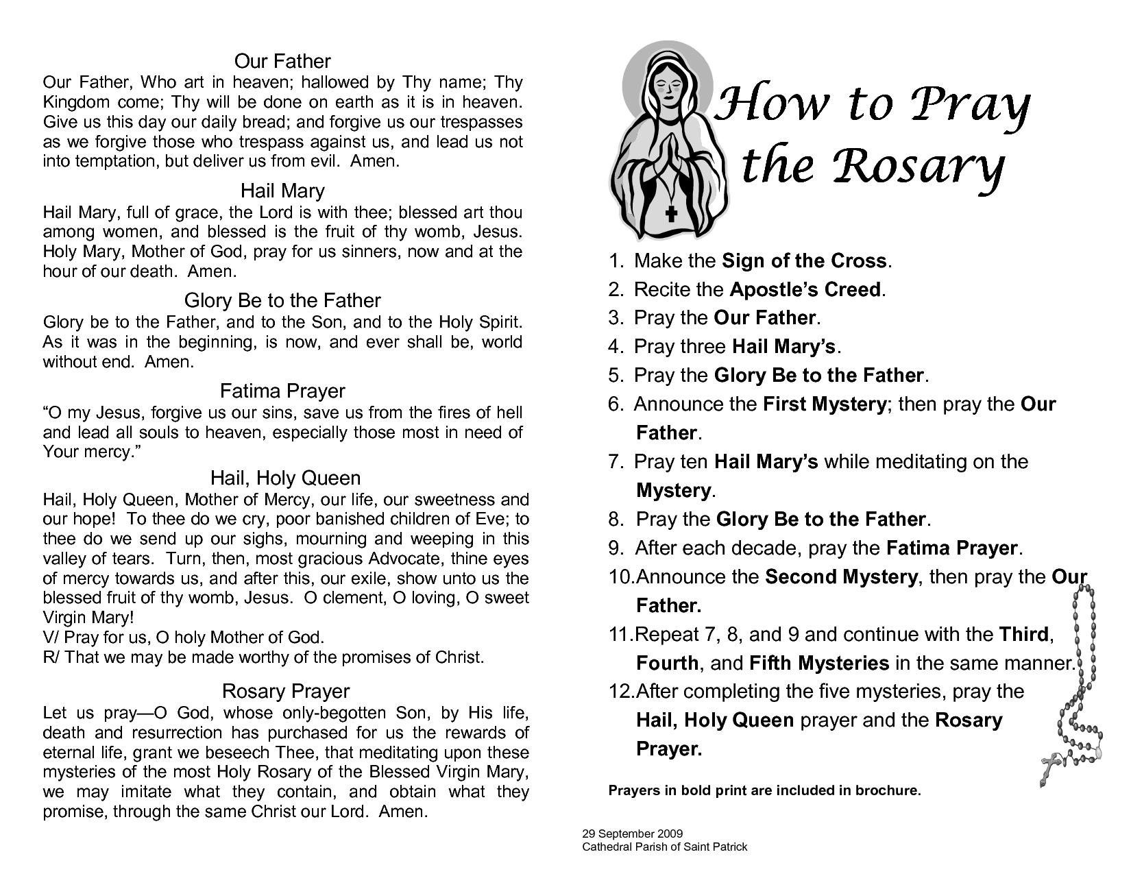 hight resolution of printable rosary prayer guide
