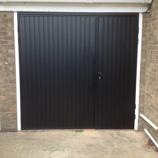 Cardale Steel Side Hinged Garage Door 7030 Split In Ebony Black