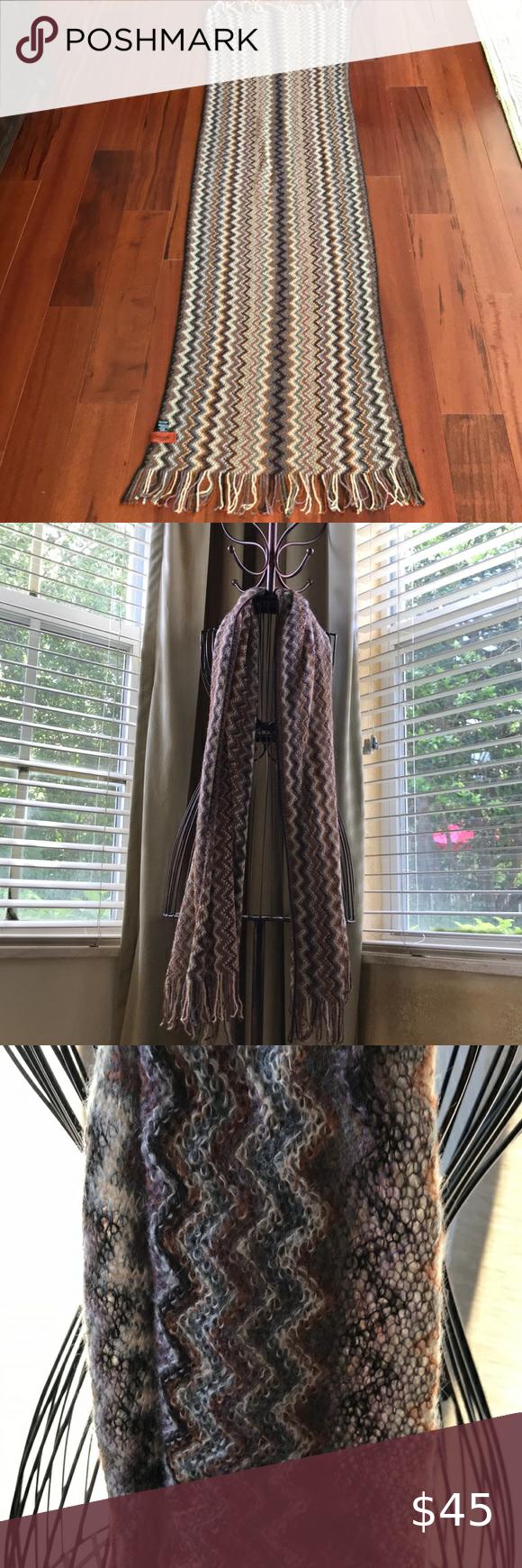 Photo of Huge Missoni brown chevron zigzag knit sca… Beautiful like new  Missoni brown …