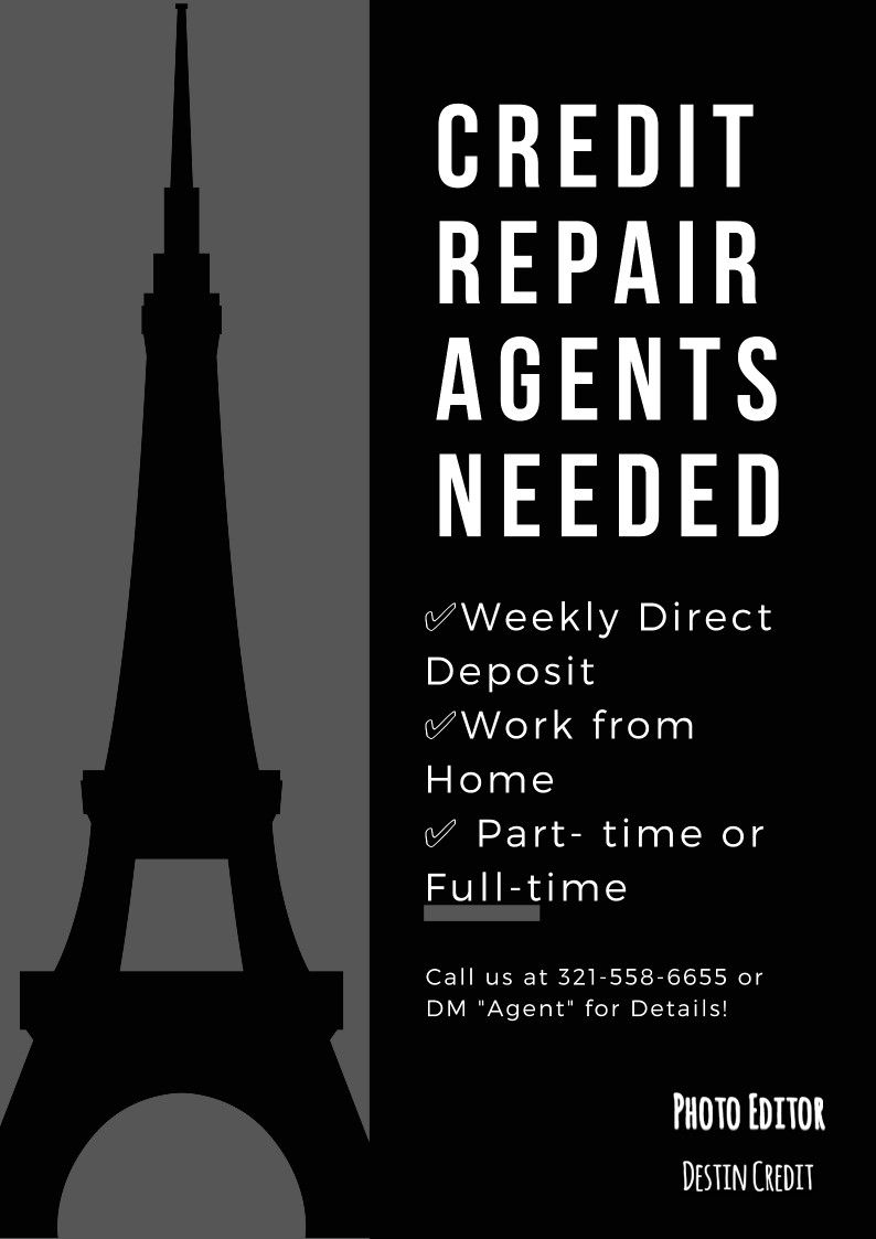 Credit repair agents needed with images credit repair