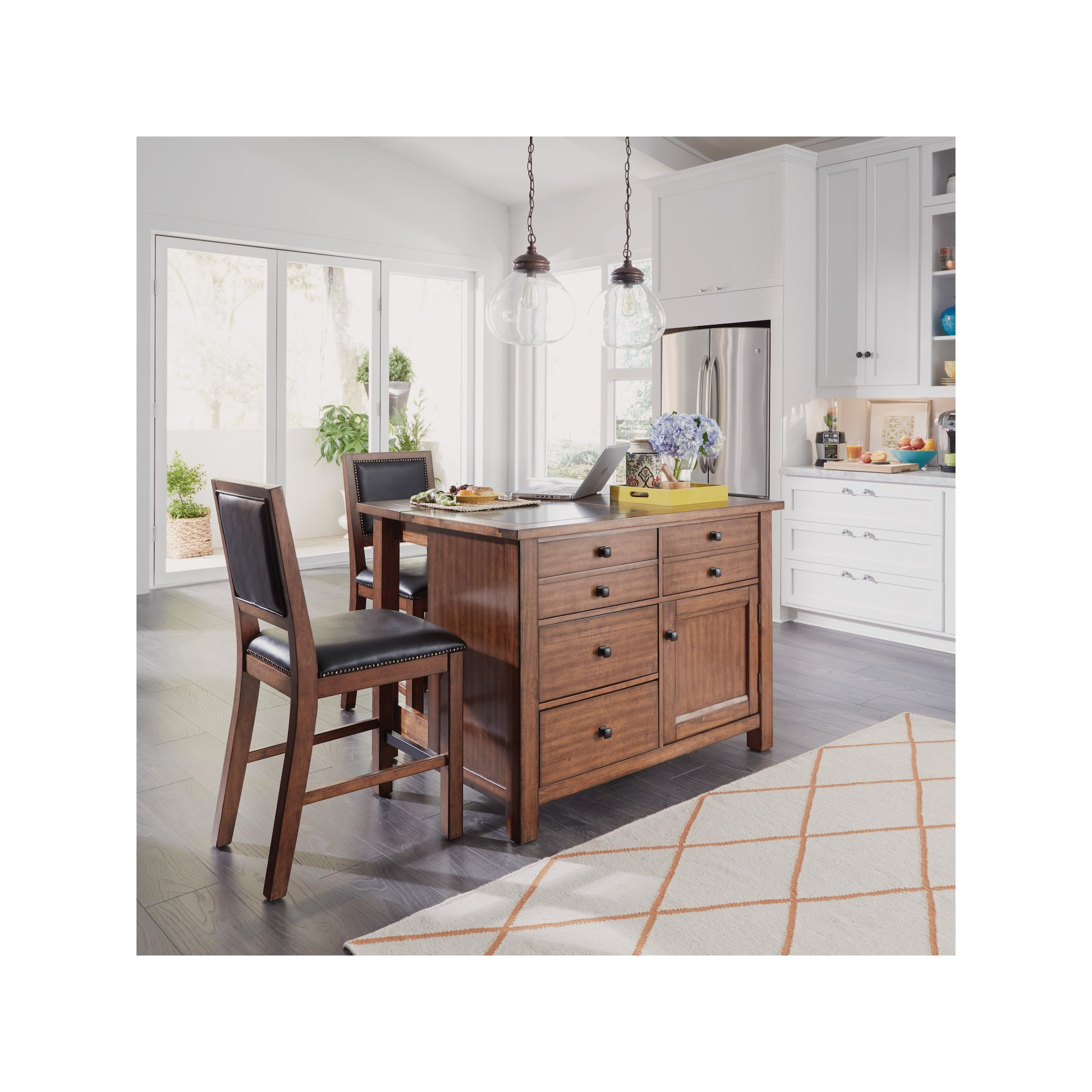 Tahoe Quartz Top Kitchen Island And 2 Stools Aged Maple Home Styles Brown Kitchen Island With Granite Top Kitchen Tops Portable Kitchen Island