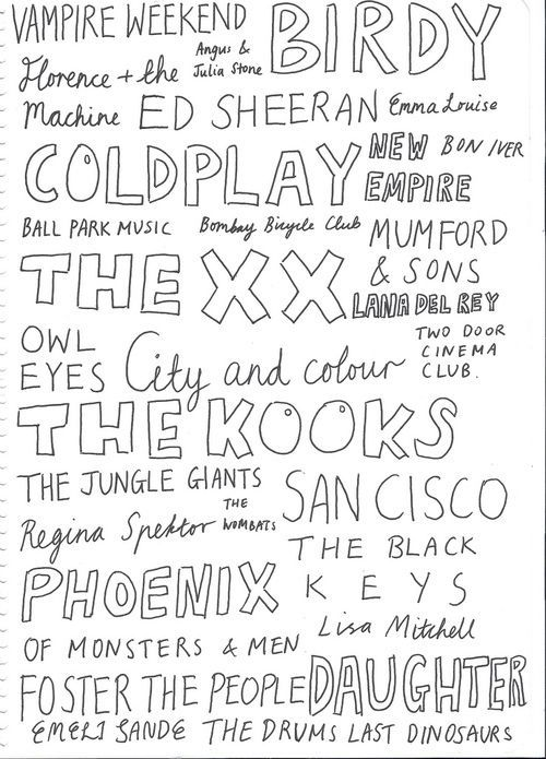 indie bands. I like: Vampire Weekend, Florence and the Machine, Ed Sheeran…