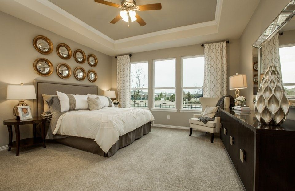 transitional master bedroom with design house llc bullseye gold leaf 6 inch round mirror