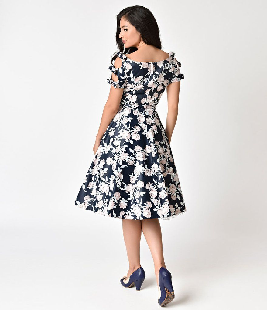 936f77506 Unique Vintage 1950s Navy & Dusty Pink Floral Bow Sleeve Selma Swing Dress