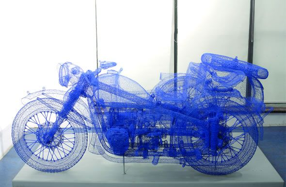 """Illusion: Three-dimensional motorcyle sculptures made from wire meshes by Shi Jindian. Notes about the artist (from bio): Say sculpture and most people think of something solid and opaque. Shi Jindian's sculptures are made of steel, yet they are light, transparent, almost ethereal. After searching for years for """"a material that was brand new, completely untraditional"""", he [...]. http://illusion.scene360.com/3d/11167/3d-motorbikes-made-out-of-metal-wire/"""