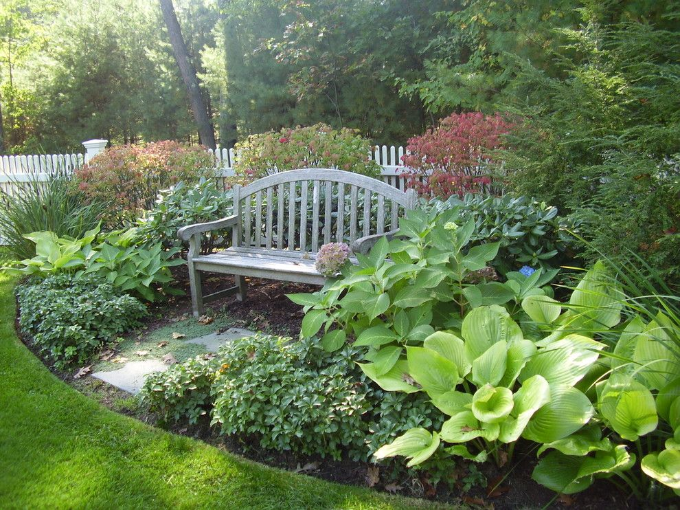 Yard Ideas · Pachysandra Landscape Traditional With Hosta Garden Bench