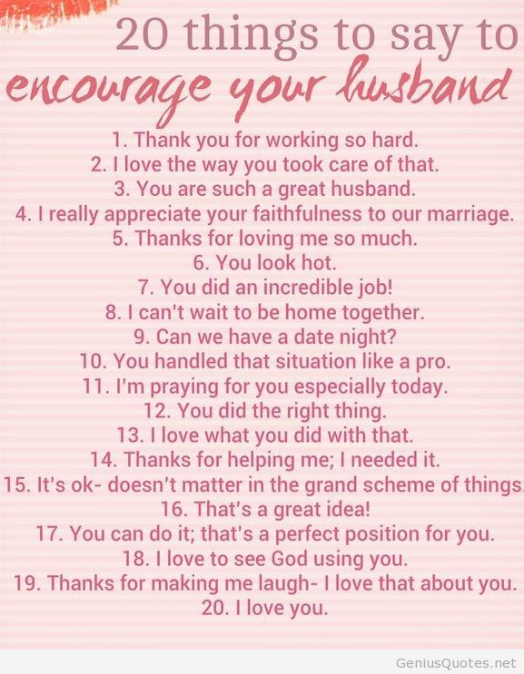 things to say to encourage your husband