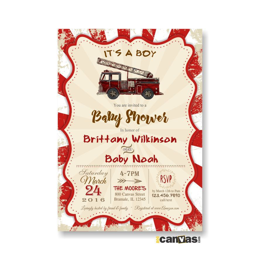 Fire Truck Baby Shower Invitation. Rustic Vintage Baby Boy Shower ...