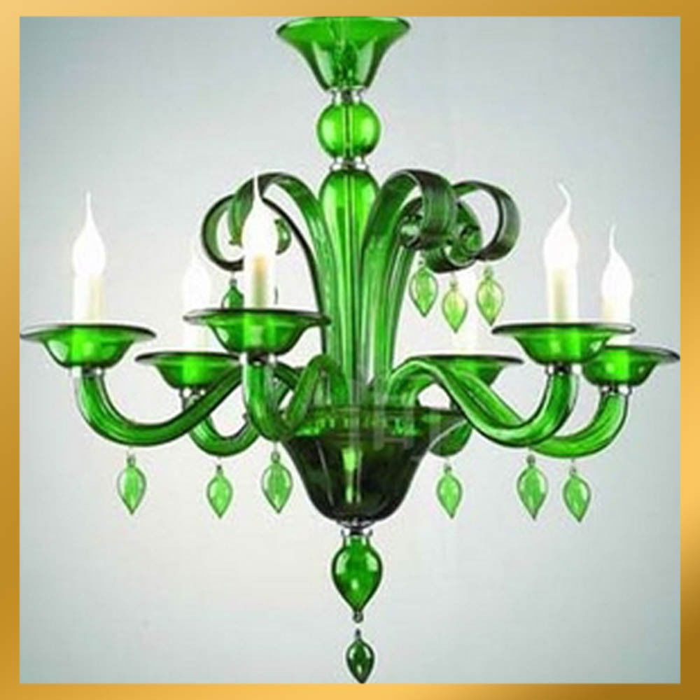 6 Light - Green Murano Glass Craft Crystal Chandelier Light Pendant Lamp Ceiling #Contemporarymodernstylishclassicelegant