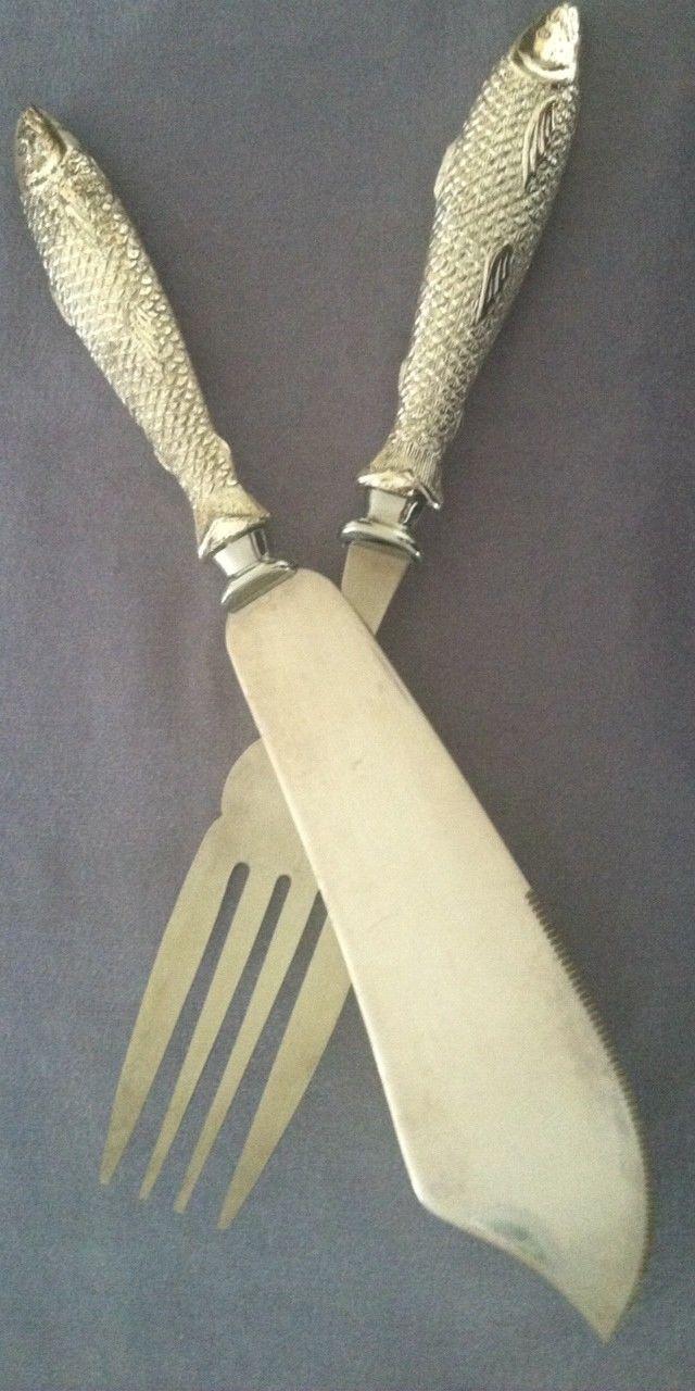 Vintage us stainless steel large carving knife u fork set