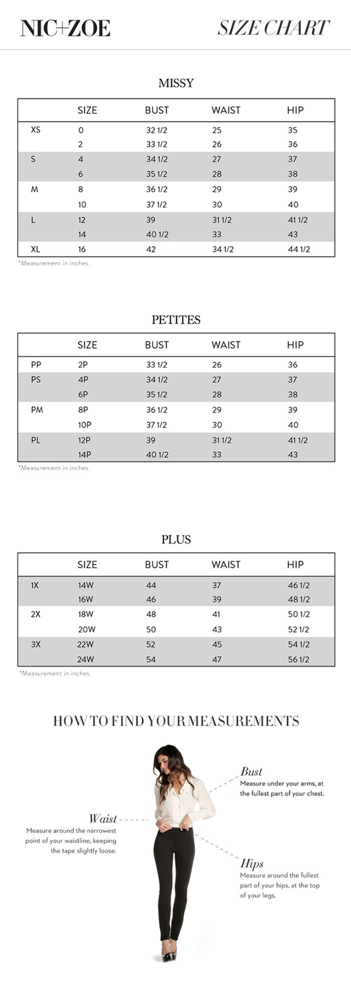 Pin On Brand Name Plus Size Charts