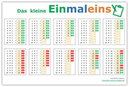 Trainiere und übe das kleine Einmaleins mit dieser kostenlosen Excel ...