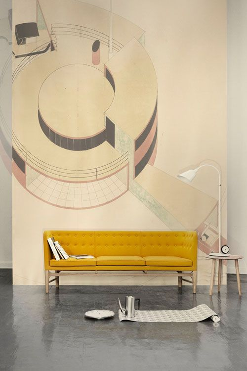 Arne Jacobsen Sofa with a beautiful background  - captures the beauty of the furniture