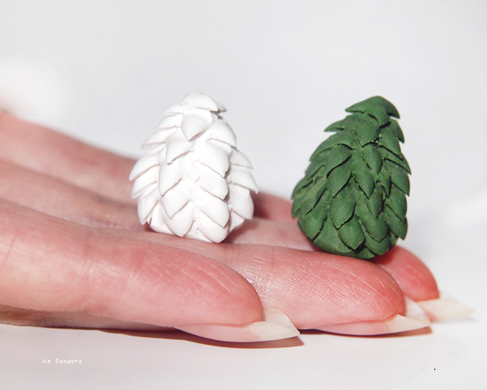Miniature Pine Trees. These could also be used as cake decorations
