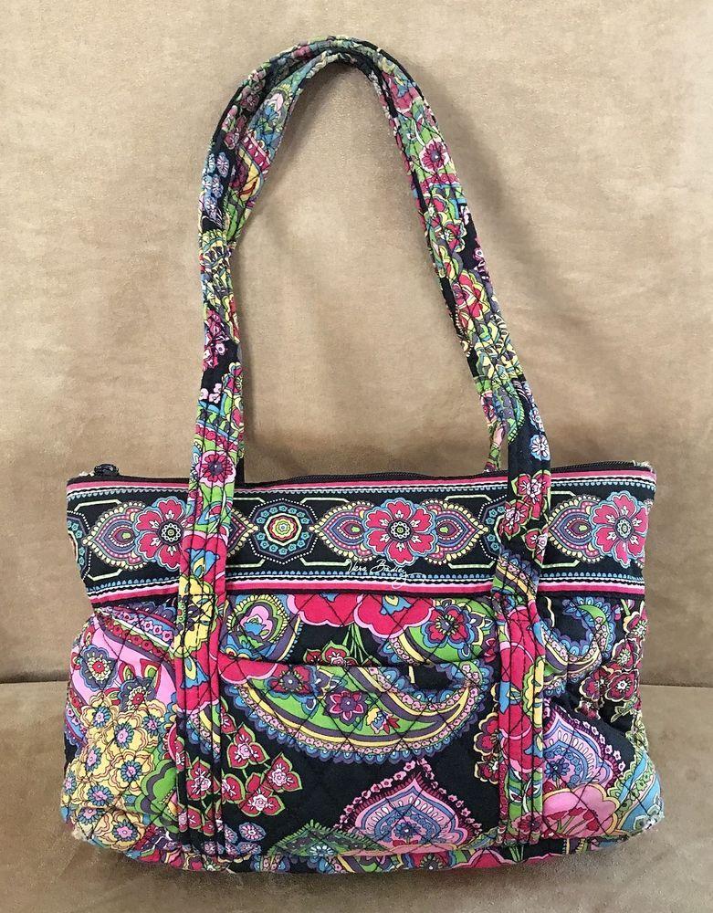 Parisian paisley Vera Bradley purse bag black pink bright floral shoulder  tote  VeraBradley  ShoulderBag 842648175e334