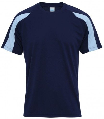 AWDis Just Cool / Cool Contrast T Shirt in Oxford Navy / Sky Blue. Check