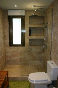 Reforma baño chapado en piedra natural y ducha de obra  3c65b3e67334