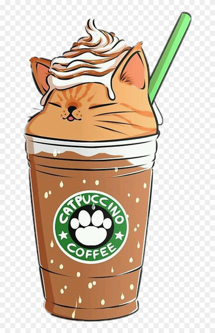 #coffee #capuccino #cat #emoji #remixit - Cute Food Kawaii Backgrounds, HD Png Download(1024x1464) - PngFind