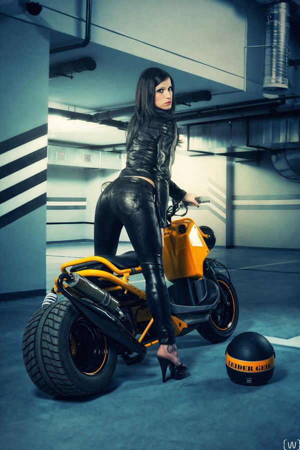 Horny girls on motorcycle well