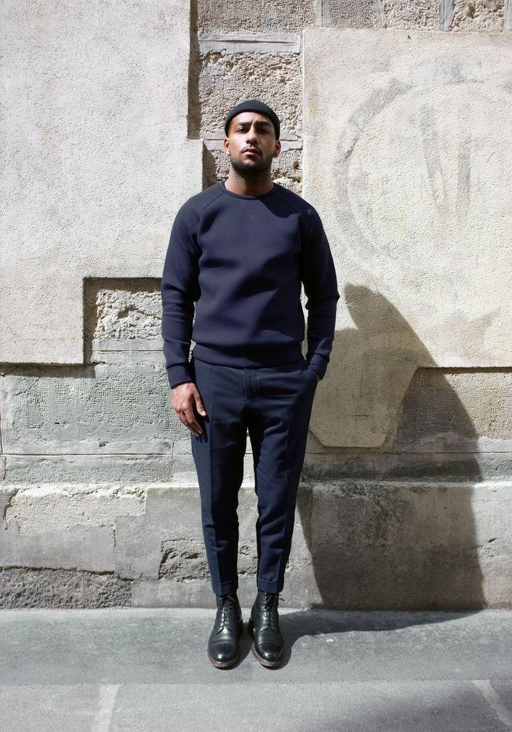 Men's Navy Crew-neck Sweater, Navy Wool Dress Pants, Black Leather ...